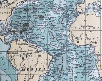 1893 The Atlantic Ocean Original Antique Print - Oceanography - Vintage Wall Decor - Available Framed