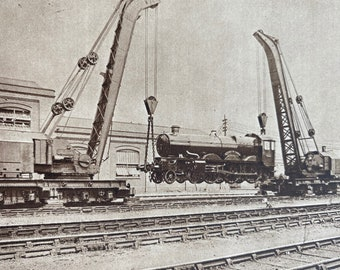 1933 Steam Travelling Cranes lifting Train Original Vintage Print - Mint - Machinery - Mechanics - Mounted and Matted - Available Framed
