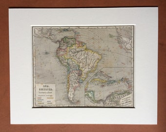1861 South America and West Indies Original Antique Hand-Coloured Engraved Map - E.Von Sydow German Atlas - Available Mounted and Matted