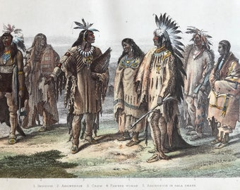 1870 Aborigines of North America Original Antique Print - Iriquois, Pawnee, Dakota, Sioux - Native - Mounted and Matted - Available Framed