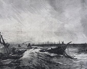 1877 Shipwreck Original Antique Engraving, Illustrated London News, 19th Century History, Victorian Art, Wall Decor, Home Decor