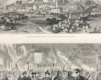 1883 The Luther Celebration in Germany Original Antique Engraving - Victorian Decor - Lutheran - Eisleben - Germany - Unique Wall Decor