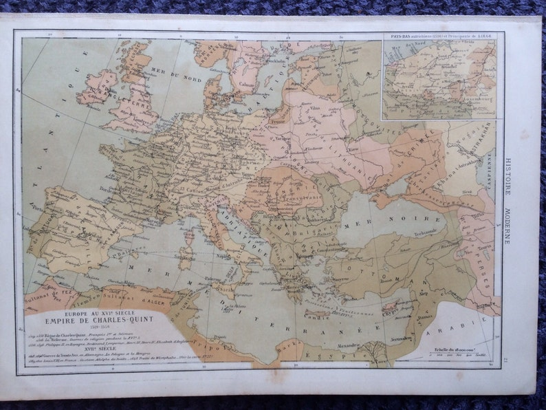 Carte Europe Charles Quint.1903 Europe Antique Map Empire De Charles Quint Charles V Etsy