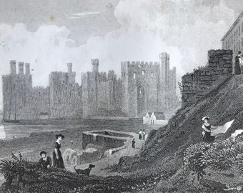 1877 Caernarvon Castle Original Antique Engraving - Carnarvon - Wales - Architecture - Mounted and Matted - Available Framed