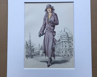 1949 Original Vintage Fashion Illustration - 1922 - The Pursuit of Fashion - Mounted and Matted - Available Framed
