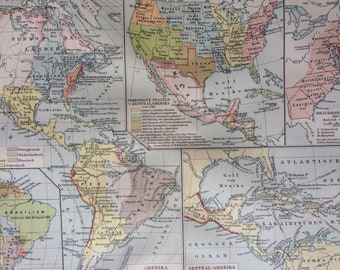 1895 History of the Americas Original Antique Map - Available Mounted and Matted - Vintage Map