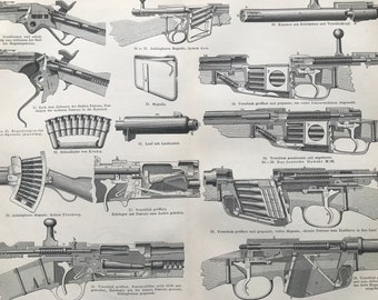 1897 Hand Firearms Large Original Antique Lithograph - Available Mounted and Matted - Military Decor - Pistol - Gun - Vintage Wall Decor