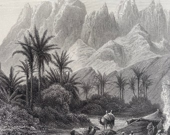 1880 Mount Serbal - from Wady Feiran Original Antique Engraving - Egypt - Mounted and Matted - Available Framed