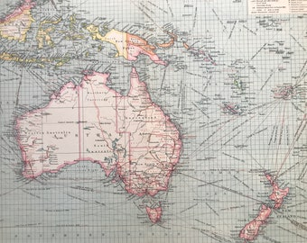 1903 Australasia: Industries and Communications Large Original Antique Map, 15.5 x 20.5 inches, Harmsworth map