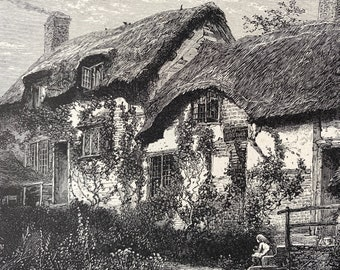 1876 Anne Hathaway's Cottage Original Antique Wood Engraving - Mounted and Matted - Available Framed - Shakespeare - Warwickshire