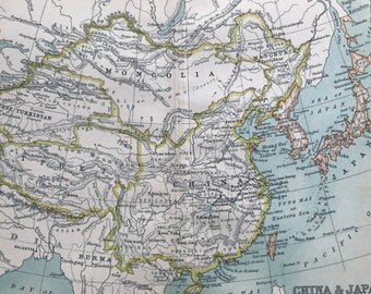 1912 China & Japan Original Antique Map - Mounted and Matted - Available Framed
