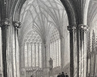 1836 Wells Cathedral - The Lady Chapel Original Antique Engraving - Architecture - Somerset - Mounted and Matted - Available Framed