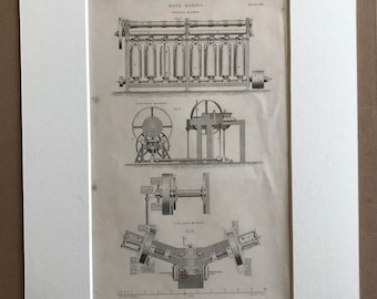 1858 Rope Making Machines Original Antique Engraving - Machinery - Victorian Technology - Available Framed