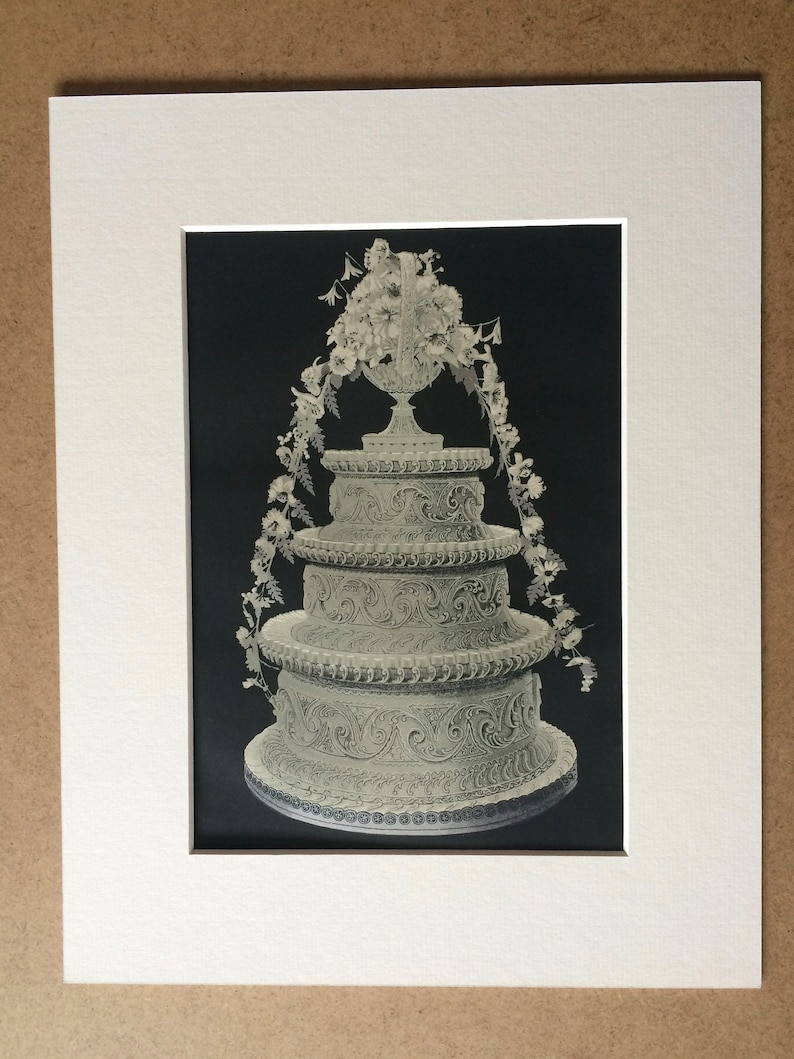 f9a80524c5707 1904 Original Antique Matted Lithograph - Three-Tier Bride's Cake -  Confectionary - Baking - Chef - Baker - Kitchen Decor - Available Framed