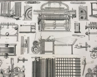 1849 Technical Diagram Large Original Antique Engraving - Mounted and Matted -  Victorian Technology - Machinery - Available Framed