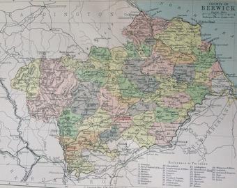 1902 County of Berwick Original Antique Map - Berwickshire - Scotland - Scottish History - Available Framed - Scottish County