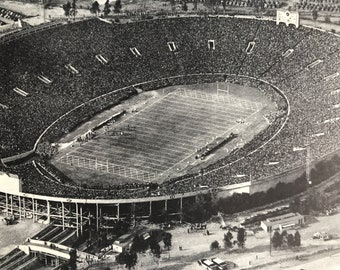 1951 The Rose Bowl, Pasadena, California Original Vintage Print - American Football - Sports Stadium - Mounted and Matted - Available Framed