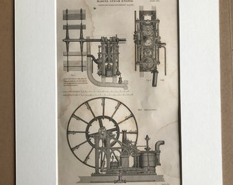 1858 Marine Steam Engine Original Antique Engraving - Boat Section - Technological Diagram - Victorian Technology - Available Framed
