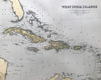 1904 West India Islands Original Antique Map - Available Mounted and Matted - Vintage Wall Decor - Caribbean Islands - West Indies