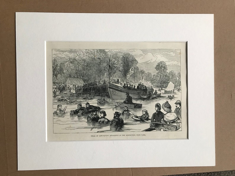 Life Vest Mounted and Matted 1883 Trial of Life-Saving Apparatus on the Serpentine Available Framed Hyde Park Original Antique Print