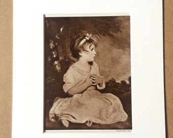 1940s Age of Innocence by Joshua Reynolds Original Vintage Sepia Photo Print - Mounted and Matted - Available Framed