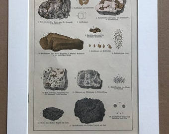1895 Large Original Antique Mineral Lithograph - Rocks - Gold - Crystals - Geology - Crystallography - Mineralogy - Available Framed