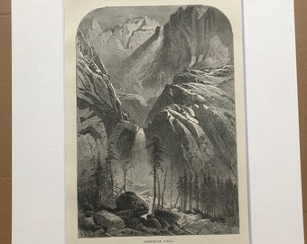 1895 Yosemite Fall Original Antique Wood Engraving - Mounted and Matted - Waterfall - California - Decorative Art - Available Framed