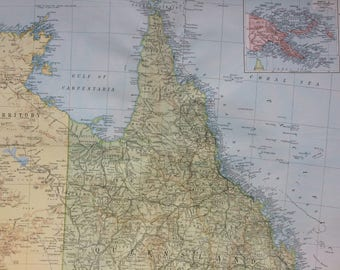1920 Australia (Northeast) Extra Large Original Antique Map with inset map of Papua and the Bismarck Archipelago - Cartography