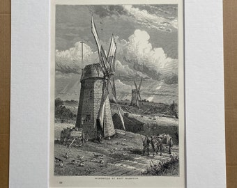 1894 Windmills at East Hampton Original Antique Engraving - Long Island, New York - Mounted and Matted - Available Framed