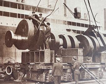 1933 Crankshaft of Motor Ship Engine Original Vintage Print - Machinery - Mechanics - Mounted and Matted - Available Framed