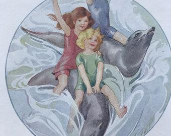 1919 Sea Lions Original Vintage Margaret W. Tarrant Illustration - Zoo - Animal Art - Available Framed - Nursery Decor - Children's Book