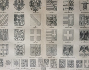 1875 Coats of Arms Large Original Antique print - Available Mounted and Matted - Heraldry - Victorian Decor