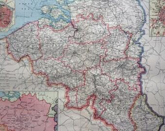 1903 Belgium & Luxemburg Large Original Antique Map, 15.5 x 20.5 inches, Harmsworth map