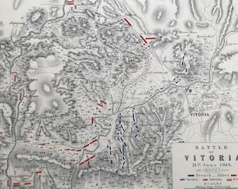 1875 Battle of Vitoria, 1813 Original Antique Map - Peninsular War - Battle Map - Military History - Available Framed