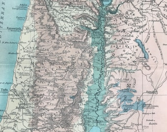 1912 Palestine Original Antique Map - Israel - Mounted and Matted - Available Framed