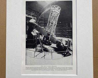 1923 The Mount Wilson Telescope Original Antique Print - Mounted and Matted - Available Framed - Astronomy