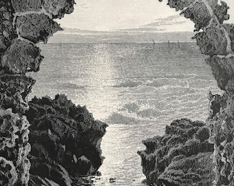 1880 View of the Great Sea from Athlit Original Antique Engraving - Mounted and Matted - Available Framed - Landscape - Palestine - Israel
