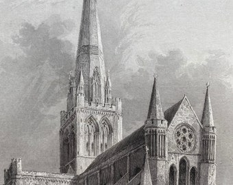 1838 Chichester Cathedral - Southeast View Original Antique Engraving - Architecture - Mounted and Matted - Available Framed