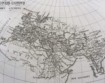 1822 Monde Connu des Anciens Original Antique Engraved Ancient History Map - Fine Detail - World Map - Cartography