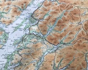 1924 Perthshire, Argyll, Isle of Mull, Hebrides Original Antique Ordnance Survey Panorama Map - Scotland - Cartography - Geography