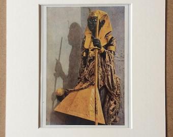 1940s Egyptian Art Original Vintage Print - Mounted and Matted - Tutankhamen - Egypt - Statue - Available Framed