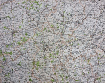 1898 Bedford Large Original Antique Ordnance Survey Map - City Plan - England - Britain - Cartography - Gift Idea - Local History