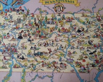 1935 Pennsylvania Original Vintage Cartoon Map - Ruth Taylor White - Mounted and Matted - Whimsical Map - United States
