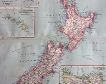 1903 NEW ZEALAND Original Antique Map with inset maps of Tasmania, Fiji, Friendly, Samoan, Sandwich Islands, 15.5 x 20.5 inches, Harmsworth