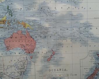 1859 OCEANIA Original Antique Map, 10.5 x 13.5 inches, historical wall decor, A K Johnson Atlas, Home Decor, Cartography, Geography