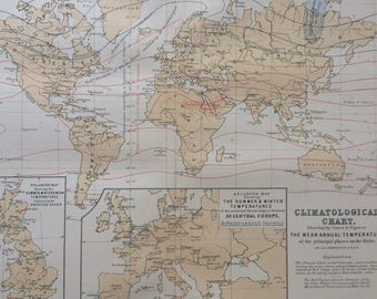 1873 Climatological Chart Original Antique World Map showing by lines and figures the mean annual temperature of principal places