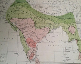 1908 India (Mean Annual Temperature) Original Antique Map - Meteorology - Meteorological Map - Indian Empire - Cartography