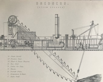 1891 Steam Dredger Original Antique Print - Engineering - Shipping - Available Mounted, Matted and Framed