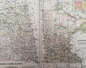 1898 North and South Dakota and Minnesota Large Original Antique A & C Black Map - United States - Victorian Wall Decor - Wedding Gift Idea