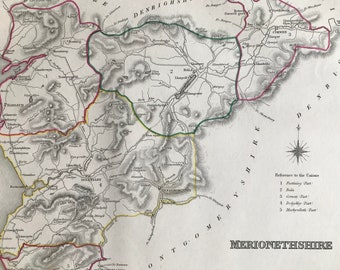 1845 Merionethshire Original Antique Hand-Coloured Engraved Map - UK County Map - Decorative Art - Cartography - Wall Decor - Wales